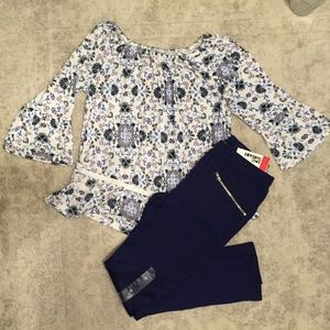 Medallion Floral Peasant top Navy Moto legging